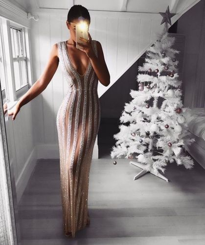 2021 Summer Maxi Long Dress Sleeveless Deep V Neck Dress Sequined Striped See-through Evening Party Sexy Bodycon Dress