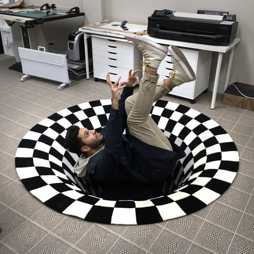 3D Vortex Portal Carpet Optical Illusion (6 Sizes)