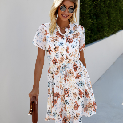 Fashion Black Print Women Dress 2021 Summer Boho Sundress Knee-Length Vestido Sexy O-Neck Button Lace Up Casual Beach Dresses