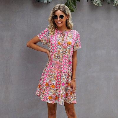 2021 New Summer Print Dress Women Casual V Neck Patchwork Medium Long Ladies Short Sleeve Loose A Line Dresses
