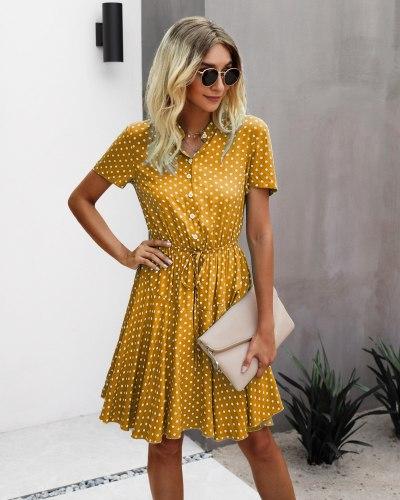 Summer Women Dresses Fashion Polka Dot Pattern Slim Waist Style Comfortable Viscose Fabric Meet Party Go Shopping Sandy Beach