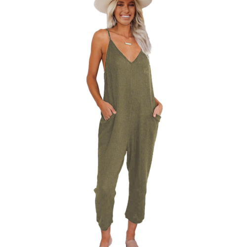 Women's Jumpsuit New Fashion Summer Solid Color V-neck Pocket Sling Women's Jumpsuit Casual Jump Suits for Women