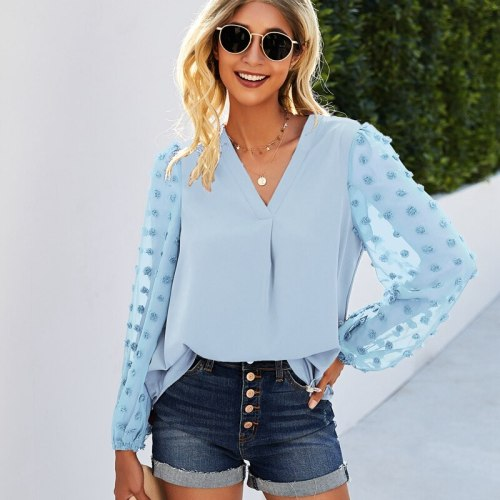 2021 New Women's Spring Summer Temperament Tops Ladiese Solid V Neck Long Lantern Sleeve Dot Loose Chic Blouses For Fashion