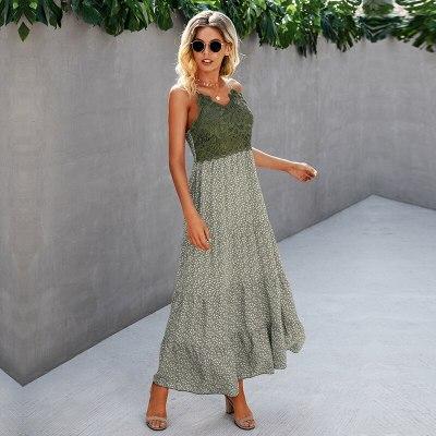 Summer Lace Patchwork Spaghetti Strap Dress Women 2021 New Casual Sleeveless Slim Print Long Dress Ladies Sexy Pleated