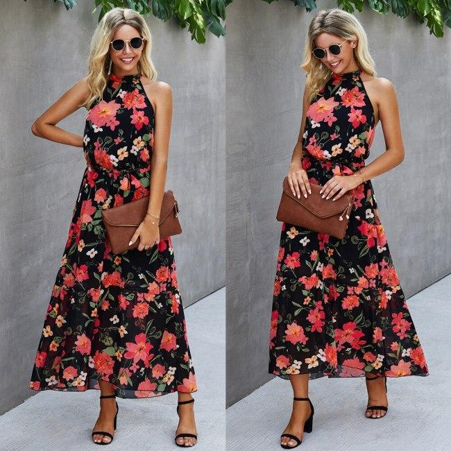 Women's Dress New Fashion Print Halter Neck Strap Women Dress Sleeveless Ankle-Length Dress for Women Women Clothes