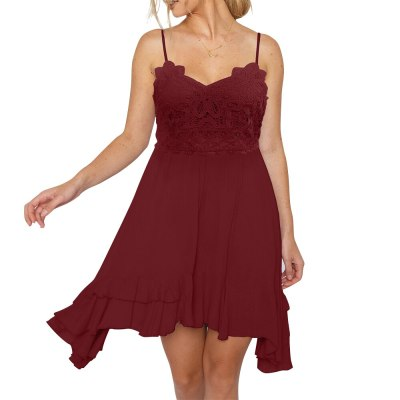 Sleeveless Ruffle Midi Dresses Women Lace Deep Solid Spaghetti Strap Female Holiday Beach Sundress V Neck Sexy Dress Summer D30