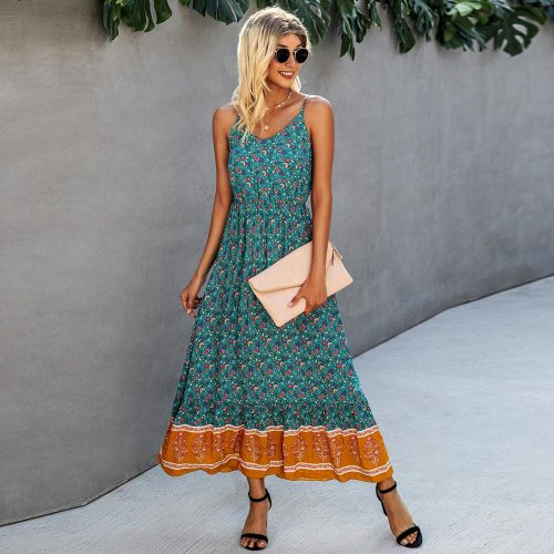2021 New Casual Long Print Women Dress Summer Sexy V-neck Holiday Style Elegant High Waist Ladies Beach Dress Vestidos