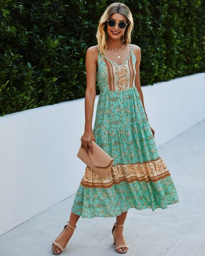 Slip Dress Backless Floral Boho Long Maxi Dress Women Summer Ladies Sleeveless Beach Dress Evening Party Casual Dresses Vestidos