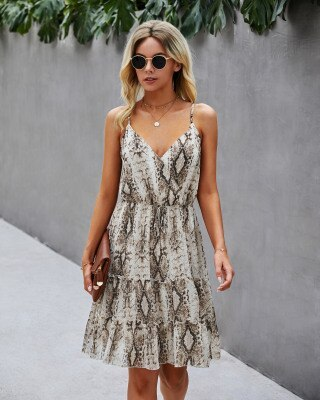 Leopard Casual A-line Summer Dress Women Fashion Ruffles Mini Dress Sleeveless Deep V-neck Ladies Dresses Vestidos