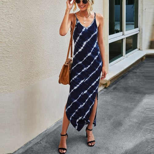 Long Dresses For Women Elegant Sexy V Neck Striped Print Side Slit Maxi Dress Women Casual Sleeveless Slim Long Dresses#LR3