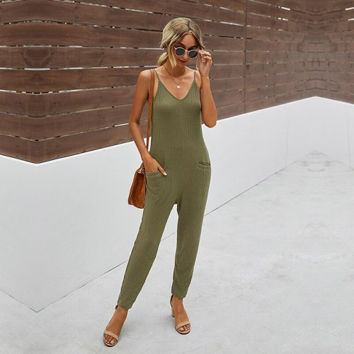 Ovesized 2021 New Casual Summer Solid Color V Neck All Match Pocket Sling Jumpsuit Women Sleeveless For Fashionable