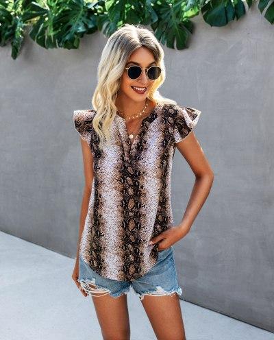 Blouses Femme Women 2021 New Arrival Summer Fashion Serpentine Printing Shirt V-Neck Woman Short Sleeves Shirt