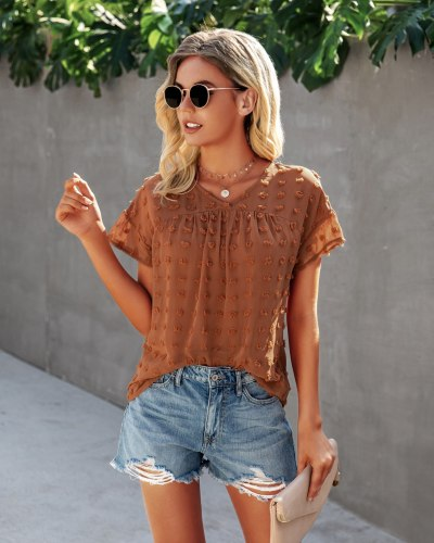 2021 Summer Short Sleeve Shirts Fashion Dot Sanding Women Tops Sexy  V-Neck Loose Red Blue Blouses Female Casual Clothing Blusas