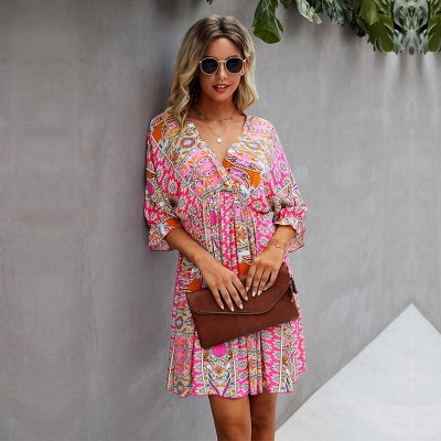 Summer Print Dress For Women 2021 New Casual V Neck Half Sleeve Ladies Fashion Knee Length Sexy Slim Floral Dresses