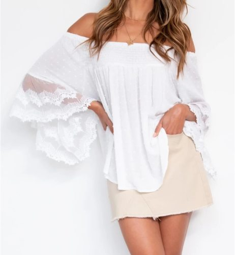 2021 Summer Shirts Fashion White Lace Women Tops Sexy Off Shoulder Backless Flare Sleeve Loose Blouses Beach Clothing Blusas