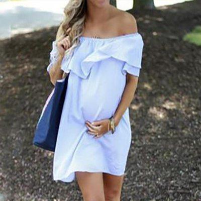 Pregnancy Clothes 2022 Sexy Album Photo Dress Women Maternity Off Shoulder Pregnancy Solid Sundress Pregnant Woman Dress Sale