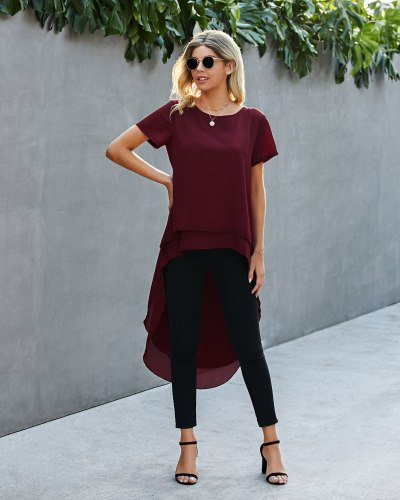 Women Dovetail Long Blouse Shirts Casual Solid Woven Ruffle Blusa Top 2021 Summer Short Sleeve O Neck Chiffon Elegant Blouses