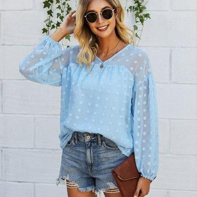 Dot Grinding Edge Women Shirts Top 2021 Spring Autumn Fashion Long Sleeve V-Neck Loose Casual Blouses Streetwear