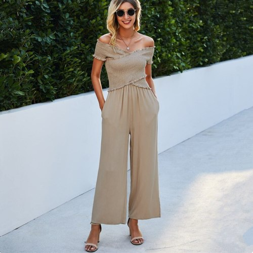 Solid Color Elegant Rompers Sexy Crossed Off Shoulder Women Jumpsuit New 2021 Summer Women Overalls Casual Wide Leg Pants Long