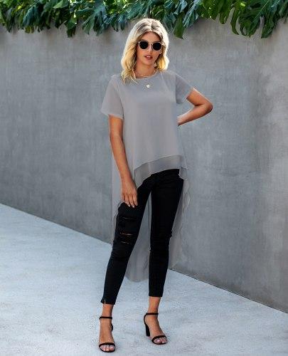Women Dovetail Long Blouse Shirts Casual Solid Woven Ruffle Blusa Top 2021 Summer Short Sleeve O Neck Chiffon Elegant Blouses