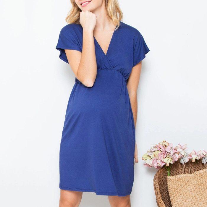 Maternity Dresses All-Match Pregnant Maternity Short Sleeve Solid V-neck Dress Pregnancy Clothes fashion pregnant women dress