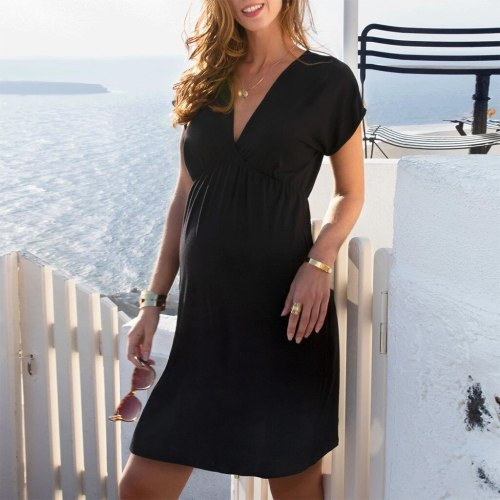 Maternity Dresses All-Match Pregnant Maternity Short Sleeve Solid V-neck Dress Pregnancy Clothes fashion pregnant women dress