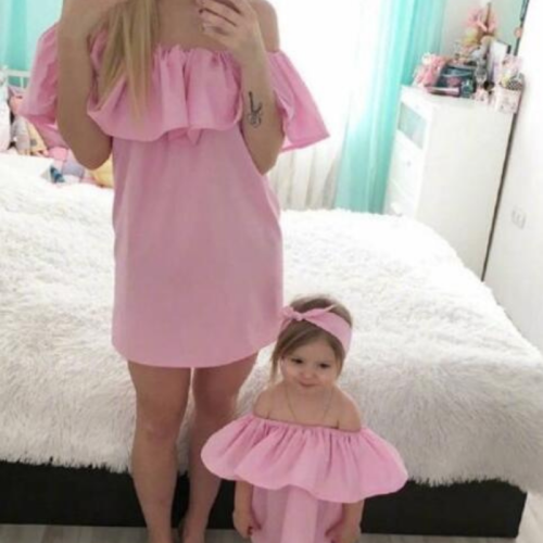 Mom Mommy and Me Clothes Off Shoulder Women Girls Dress Outfits Family Set Boat Neck Mother Daughter Matching Dresses Ruffled
