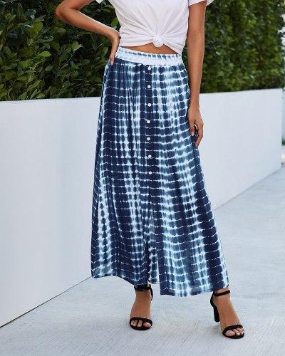 Fashion Tie Dye Printed Boho Skirts 2021 Summer Women Loose Long Button High Waist Streetwear Female Maxi Casual Skirt