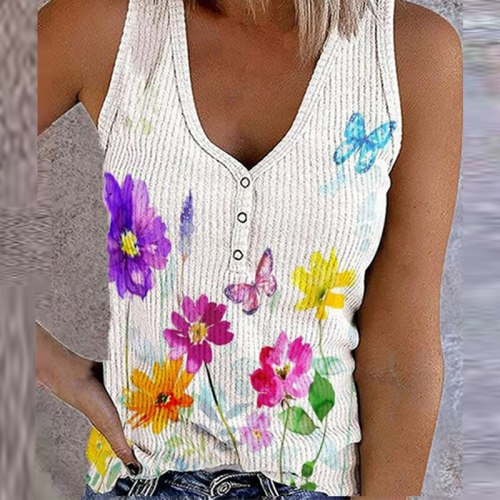 2021 Summer Flower Butterfly Print Tank Top Fashion Sleeveless V Neck Button Tee Shirt Women Casual Loose Plus Size Vest T-Shirt