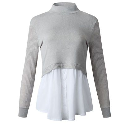 Women Autumn 2 In 1 Patchwork Pullover Tops Ribbed Knitted Long Sleeve Sweater Button Down Layered Shirt Office Lady Jumper