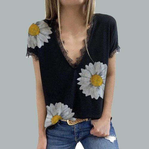 Summer Elegant Flower Stars Printed Blouses  Fashion Lace V Neck Short Sleeve Loose Tops Casual Women Patchwork Shirts Blusa 3XL