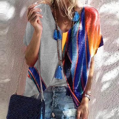 2021 Summer Elegant Colorful Print Patchwork Blouse Shirt Women Fashion V Neck Loose Pullover Tops 5XL Casual Short Sleeve Blusa