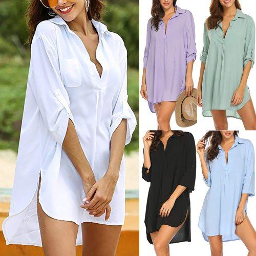 New Fashion Women Swimsuit Cover Ups Shirts, Ladies Bathing Suit Cover Ups Mini Dress Bikini Beach Tunic Tops