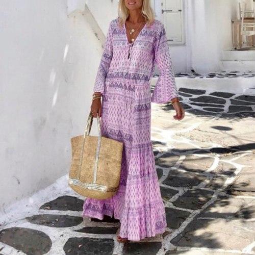 2021 Women Vintage Boho Print Long Dress Elegant Flare Sleeve Geometric Pattern Party Dress Sexy Spring Summer V Neck Maxi Dress