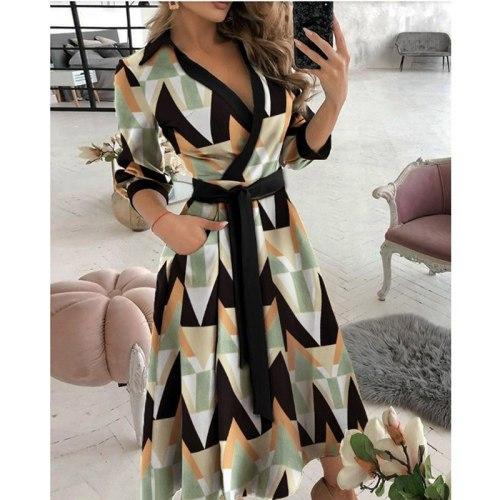 Sashes Summer Dress Women Casual Long Sleeve Woman Dress Loose A-Line Print Maxi Shirt Dresses for Women 2021 robe femme