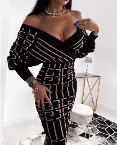 Women Dress New Spring Autumn Fashion Women Striped Medium Length V-Neck Long Sleeve High Waist Dress Chic Vestidos