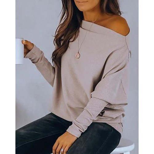 Plus Size Women Winter Fall Tshirt Long Sleeve Cold Shoulder Solid Tops Korean Clothing 2021 Female Casual Skew Collar SJ7276X
