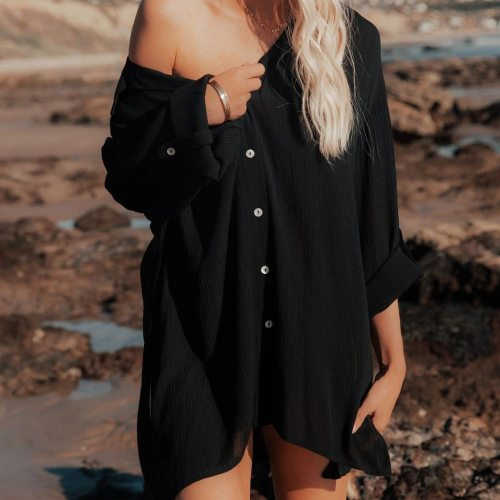2021 Spring And Summer Women'S New Lazy Beach Blouse Mid-Length Loose Shirt Hot Sale