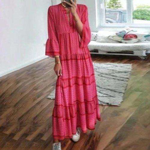 Maxi Dress Bohemian Print Women Dress 2021 V Neck Boho Long Sleeve Dresses for Women Party Autumn Long Sundress Female