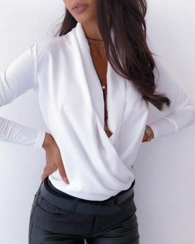 OL Women Long Sleeve Deep V-neck Shirt Blouses Tops Sexy Criss-cross Snake Skin Shirt Work Business Formal Shirt Outwear Fall