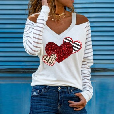 Casual Women V Neck Heart Print Blouses Shirts Elegant Hollow Out Halter Pullover Tops Sexy Striped Patchwork Long Sleeve Blusas