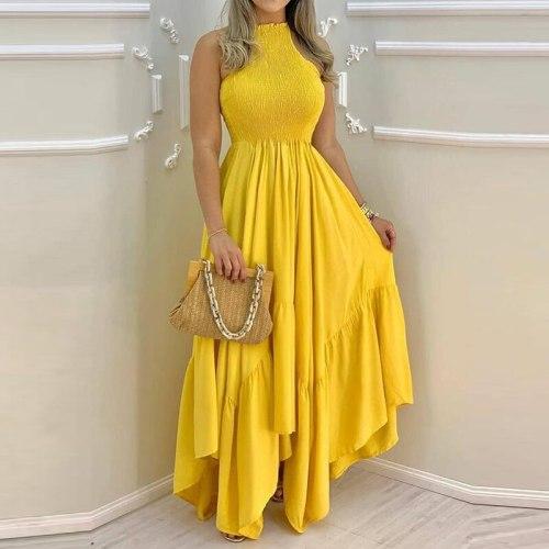 Fashion Sexy Sleeveless Solid Long Dress Summer Women Ruffles Casual Irregular Dress Elegant Stand Neck Pleated Maxi Party Dress