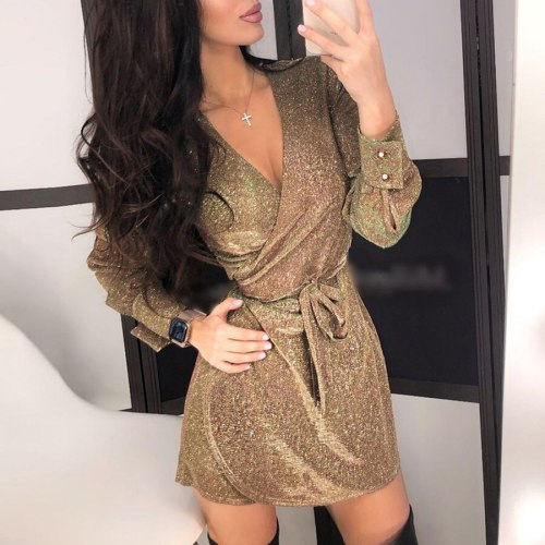 Autumn V Neck Sexy Dress Women Long Sleeve Female Sashes A-Line Bodycon Vestidos Nightclub Party Above Knee Mini