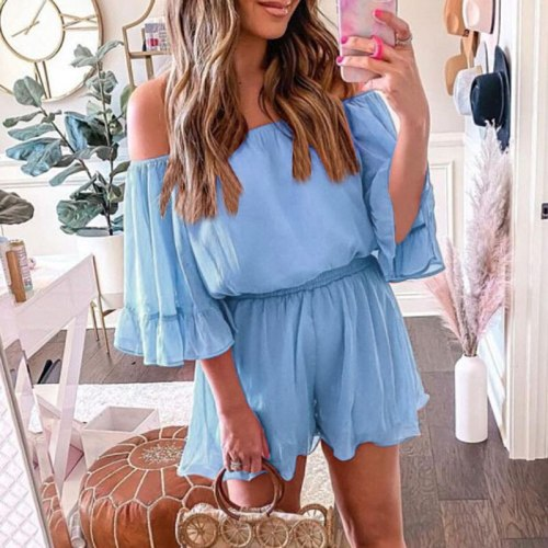 2021 Summer Fashion Chiffon Playsuits Rompers Sexy Flare Sleeve Shorts Beach Bodysuits Women Sweet Solid Off Shoulder Jumpsuits