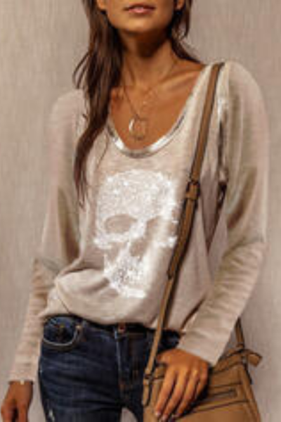 Fashion Sequins Skull Print T Shirt Streetwear Casual Spring Autumn Long Sleeve Pullover Tops Elegant Women O-Neck Tee Shirt 3XL