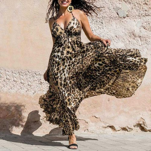 Women's Dress Leopard Printed V-Neck Sleeveless Sling Long Dress Summer Fashion Casual Ladies Sexy Tube Top Dresses 2021 New