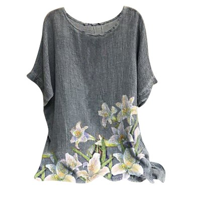 Fashion Summer Tops For Women 2021 Woman Vintage Cotton-blend O-neck Short Sleeve Floral Print Top T-shirts Футболка