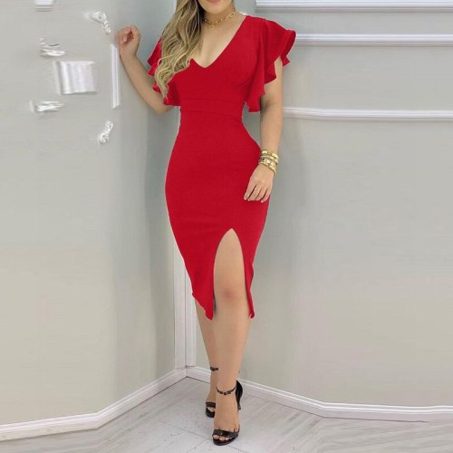 2021 Floral Print Fashion Summer Dresses Women Butterfly Short Sleeves Slim Party Dress Sexy V Neck Chic Slit Midi Bodycon Dress