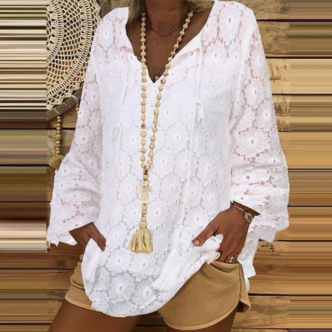Women Elegant Lace Insert Tassel Blouse Shirts 2021 Autumn Vintage Long Lantern Sleeve Pullovers Tops Ladies Casual V-Neck Blusa