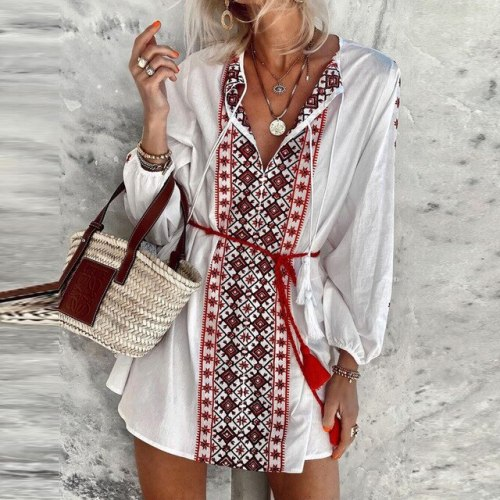 2021 Women Long Sleeve Holiday Party Dress Summer Vintage Print Tassel Beach Dress Sexy V Neck Ethnic Floral Pattern Mini Dress